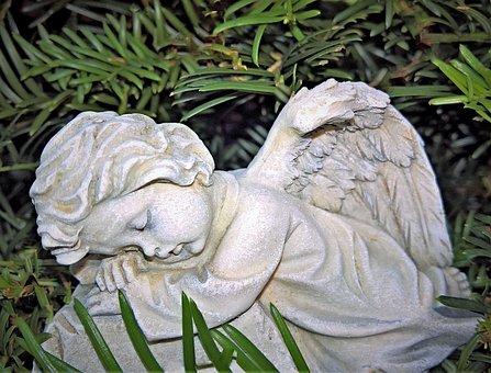 Angel, Small Figure, Cherub, Grey White, Lying, Dormant
