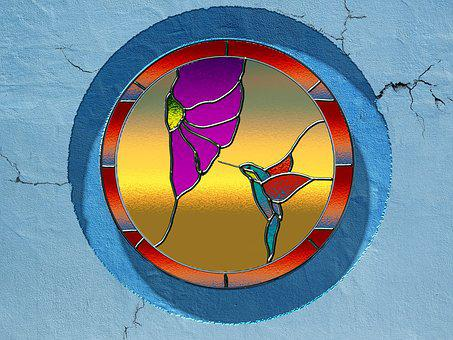 Stained Glass Window, Window, Hummingbird, Skylight