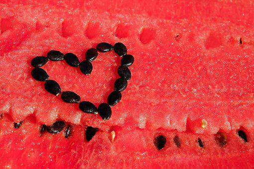 Watermelon, Fruit, Red, Pulp, Cores, Black, Heart