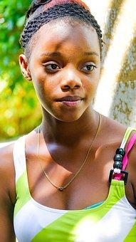 Afro, Child, Girl, Children, Face, Kambotscha, Burma