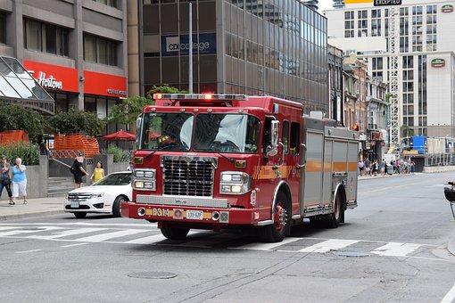 Fire Truck, Fire, Toronto, Yonge Street, Emergency