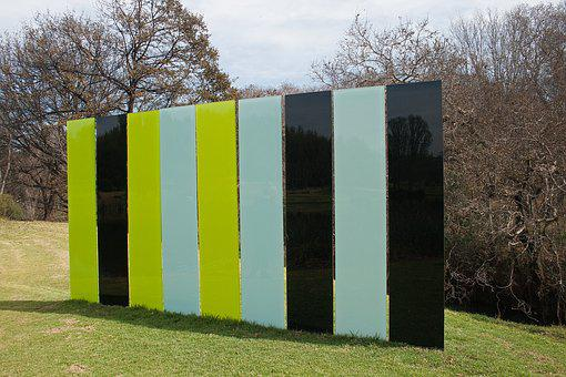 Sculpture, Wall, Flat, Panels, Green, Black, Cyan