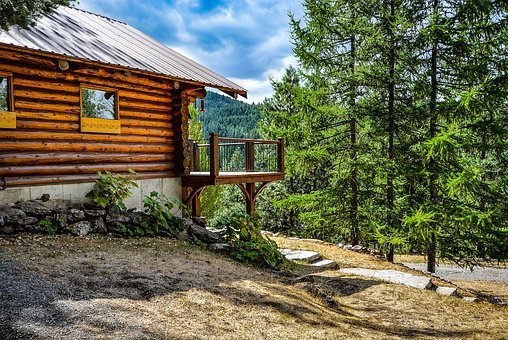 Log, Home, Mountains, Rustic, Country, Cabin, Deck