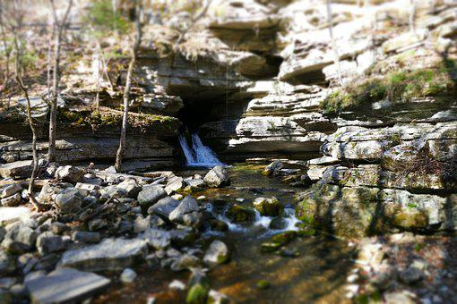 Waterfall, Cave, Rock, Forest, Nature, Landscape, Water