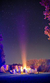 Campfire, Starry Sky, Star, Fire, Night, Sky, Night Sky