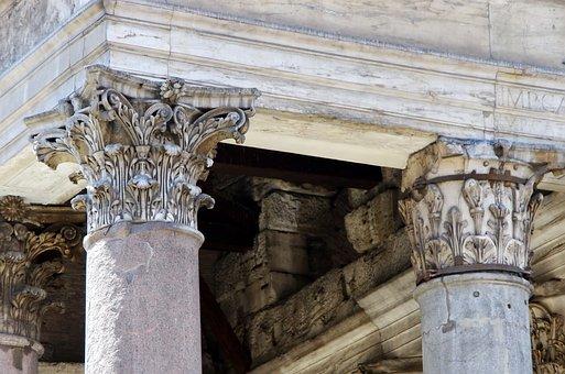 Rome, Pantheon, Columns, Capitals, Corinthian, Acanthus
