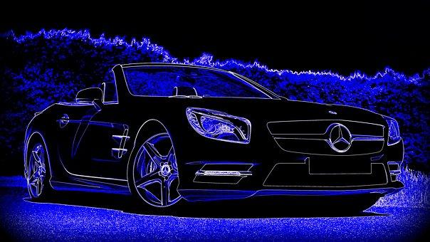 Mercedes-benz, Car, Blue, Transport, Vehicle, Auto
