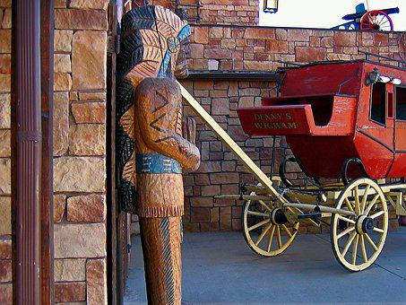 Stagecoach, Indians, Usa, Utah, Wooden Statue