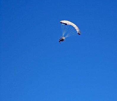 Parachutist, Parachute, White, Canopy, Jump, Sky, Blue