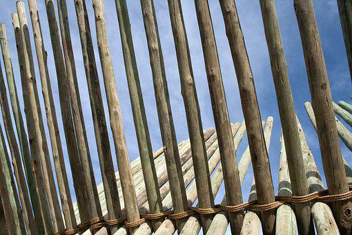 Close Up Of Pole Structure, Sculpture, Wood, Beams