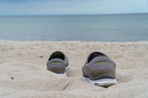 Beach, Baltic Sea, Shoes, Sea, Coast, Sand Beach