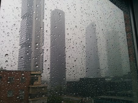Rain, Drops, City, Wet, Torres, Skyscraper, Madrid