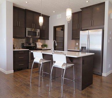 Kitchen, Counter, Fridge, Refrigerator, Elegant