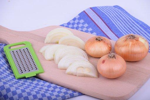 Onion, Onions, Wooden Board, Table, Food