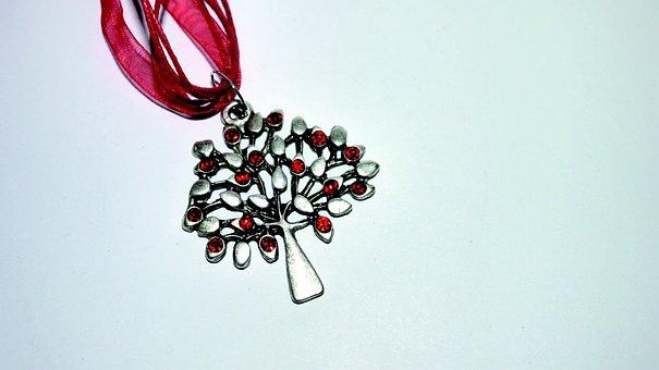 Tree, Metal, Organza, Jewel, Red, Elegant, Vintage