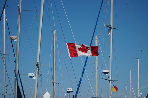 Canada Flag, Blue, Sky, Wind, Symbol, Canadian, Red