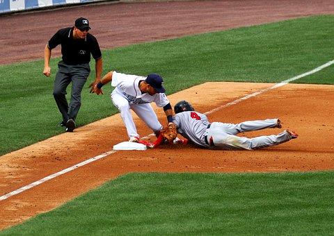 Baseball, Tagged Out, Slide, Umpire, Third Base