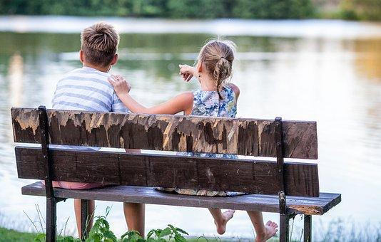 Children, Bench, Romance, View, Nature, Water, Pond