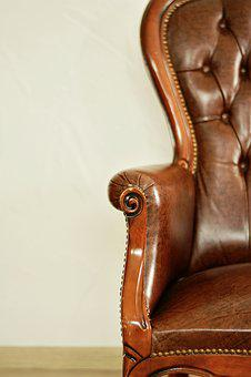 Chair Backrest, Leather Armchair, Old, Antique, Leather