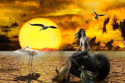 Climate Change, Composing, Nature, Mermaid, Siren, Sun