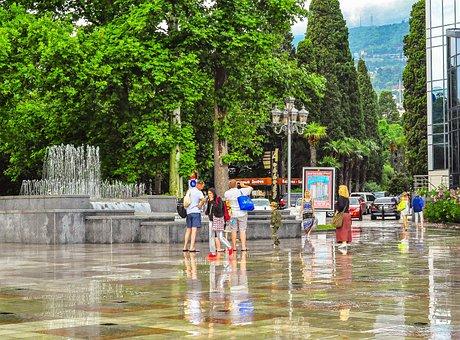 Yalta, Rain, Fountain, People, Reflection