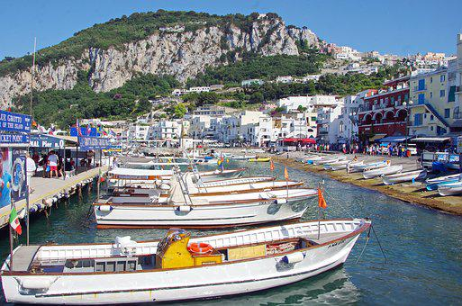 Italy, Capri, Port, Boats, Navigation, Landscape