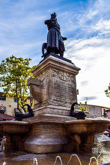 Fountain, Le Grau Du Roi, Statue, Basin, Midday
