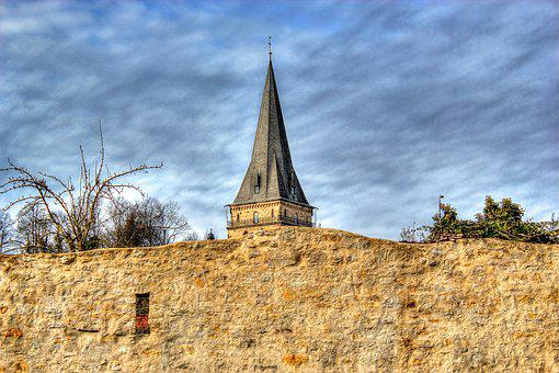 Wall, Church, Architecture, Old, Historically, Steeple