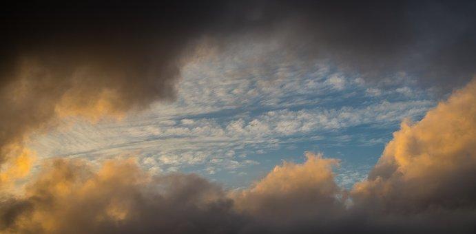 Cloudscape, Sky, Grey, Blue, White, Pink, Clouds