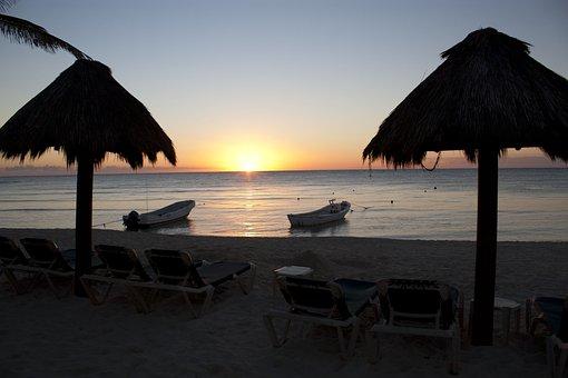 Sunset, Mexico, Tulum, Nature, Sun, Beach, Sea, Water