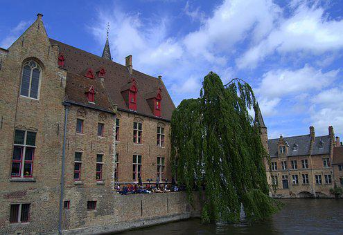 Bruges, Canal, Ride, B, Belgium, Town, River, Wall