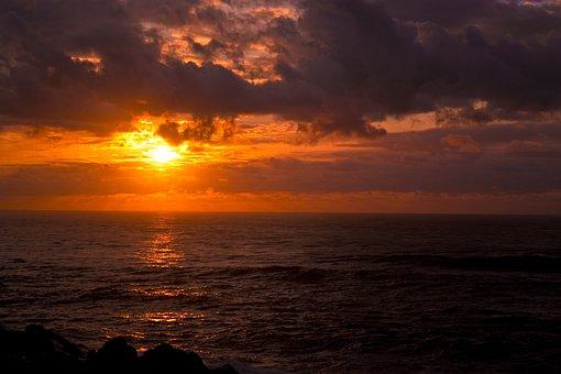 Beach, Sunset, Dark Clouds, Ocean, Sunset Beach, Sea