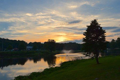 Sunset, Pond, Fountain, Water, Park, Garden, Green