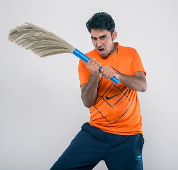 Man, Clean, Indian, Asian, Fight, Ready, Power, Broom