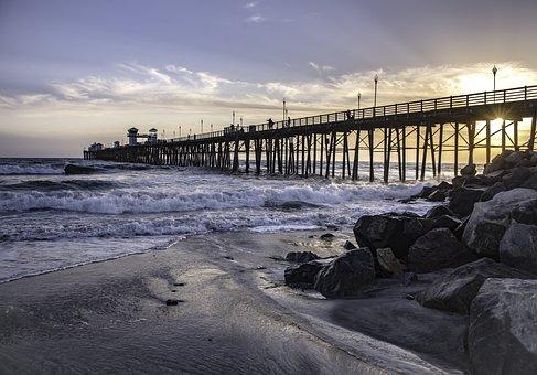 Pier, Ocean, Beach, Water, Travel, Vacation, Coast