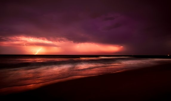 Sea, Ocean, Sunset, Dusk, Panorama, Sky, Clouds, Storm