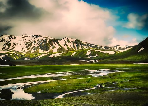 Iceland, Tourism, Mountains, Snow, Hdr, Steam, Creek