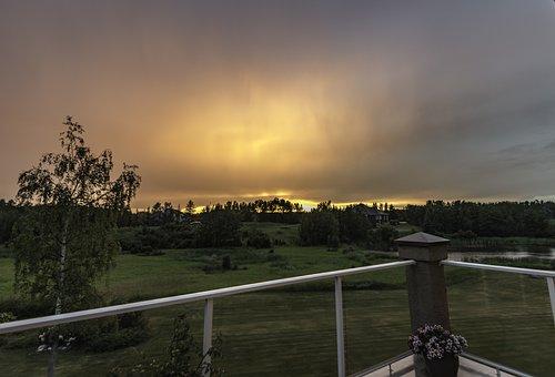 Sunset, Rain, Nature, Sun, Summer, Sky, Outdoor, Cloud