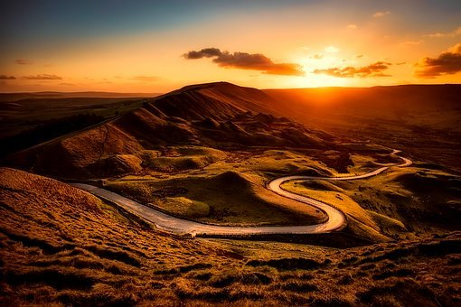 England, Mountains, Hills, Sunset, Sunrise, Vista