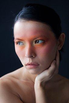 Model, Fashion, Beauty, Asian, Orange, Hands, Face