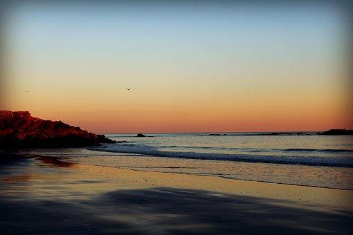 Ocean, Sunset, Beach, Maine, Landscape, Horizon, Orange