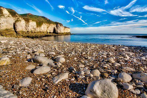 Seascape, Beach, Pebbles, Chalk, Cliffs, Blue, Sky, Sea