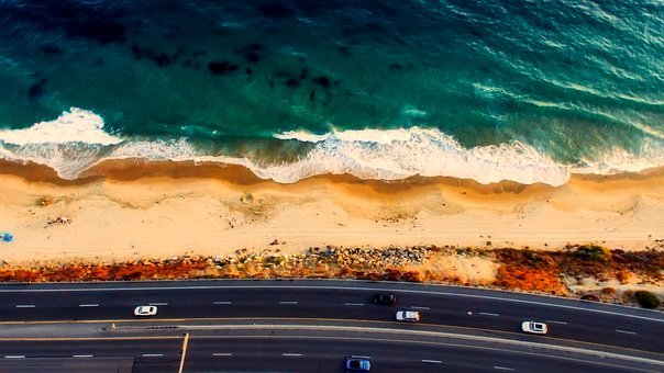 Laguna Beach, California, Aerial View, Beach, Sand, Sea
