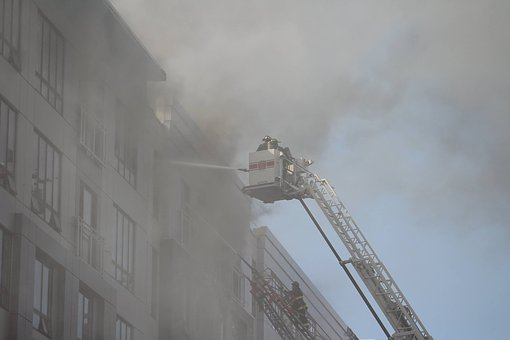 Fire, Building, Hose, Emergency, City, Architecture