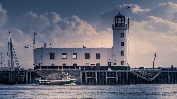 Seascape, Fishing, Lighthouse, Sea, Water, Ocean, Sky