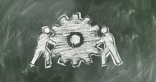 Teamwork, Team, Gear, Board, Chalk, Hatch, Gears, Drive