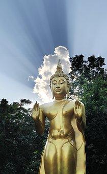 Buddha, Blue Sky, Gold