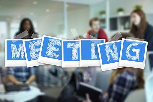 Meeting, Polaroid, Group, Team, Businessmen, Clouds