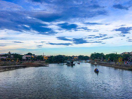 Hoi, Viet Nam, Boat, Fishermen, Boats, Water, River