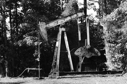 Oil, Pump, Black, White, Industry, Industrial, Gas